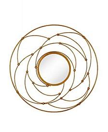 Round Contemporary Leaf Metal Decorative Accent Mirror