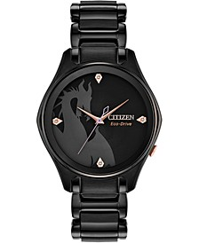 Eco-Drive Women's Maleficent Diamond-Accent Black Stainless Steel Bracelet Watch 34mm