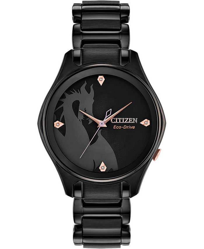 Citizen - Women's Maleficent Diamond-Accent Black Stainless Steel Bracelet Watch 34mm
