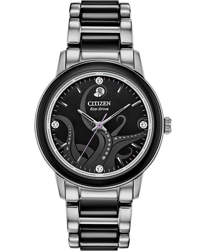 Citizen - Women's Ursula Diamond-Accent Stainless Steel & Black Ceramic Bracelet Watch 36mm