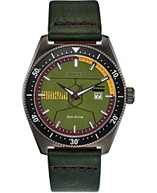 Eco-Drive Men's Star Wars Boba Fett Green Leather Strap Watch 43mm