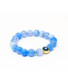 Agate Gemstone Single with Evil Eye Bracelet