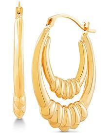 Double Hoop Ridge Drop Earrings in 14k Gold