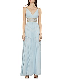 Pleated Lace-Inset Gown