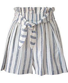 Striped Tie-Front Paperbag-Waist Woven Shorts