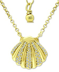 "Cubic Zirconia Clam Shell Pendant Necklace in 18k Gold-Plated Sterling Silver, 16"" + 2"" extender, Created for Macy's"