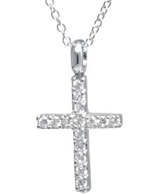 "Cubic Zirconia Cross 18"" Pendant Necklace in Sterling Silver, Created for Macy's"