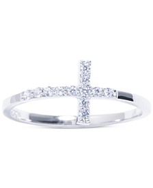 Cubic Zirconia East-West Cross Ring in Sterling Silver, Created for Macy's