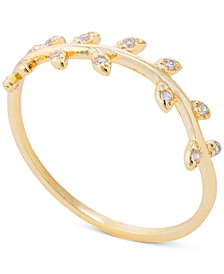 Cubic Zirconia Leaf Statement Ring in 14k Gold-Plated Sterling Silver, Created for Macy's
