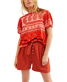 Free People Paisley Puff-Sleeve T-Shirt