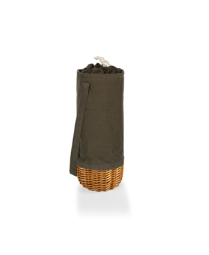 Picnic Time Malbec Insulated Canvas and Willow Wine Bottle Basket