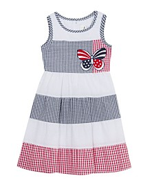 Little Girls Butterfly Seersucker Dress