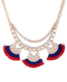 """Gold-Tone Crystal & Fringe Statement Necklace, 16"""" + 2"""" extender"""