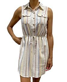 Juniors' Sleeveless Stripe Shirtdress