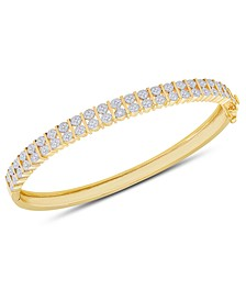 Diamond Accent Bar Bangle in 18k Gold over Sterling Silver-Plated Brass