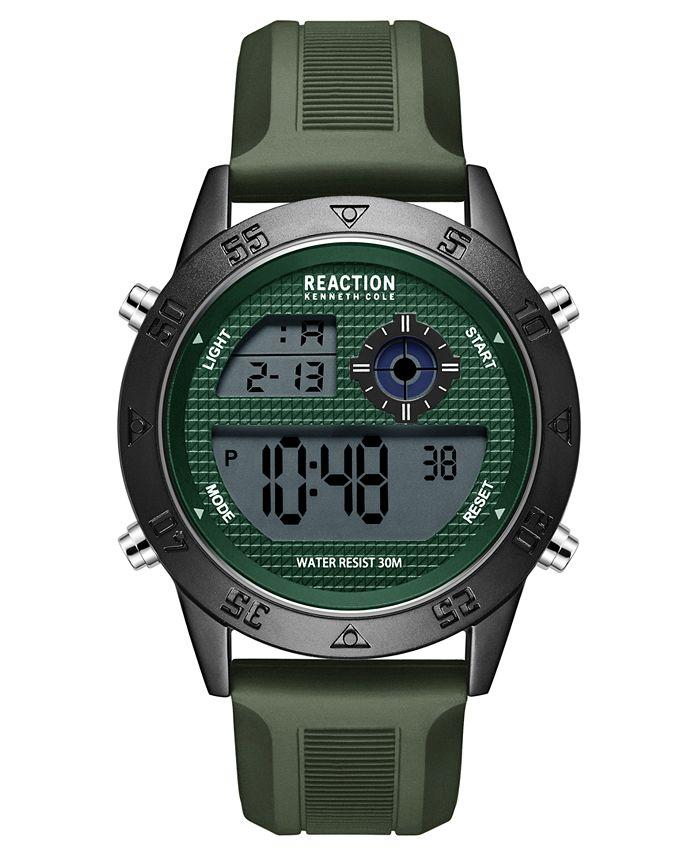 Kenneth Cole Reaction - Men's Dress Sport Round Green Silicon Strap Watch 47mm