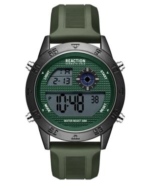 Men's Dress Sport Round Green Silicon Strap Watch 47mm