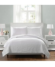 Laos Lily Full/Queen Coverlet - White
