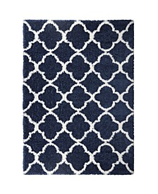 "Barnes Bar04 Navy and Ivory 9'2"" x 12'5"" Area Rug"