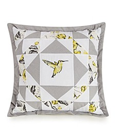 Hummingbird Blooms Star Embroidered Decorative Pillow