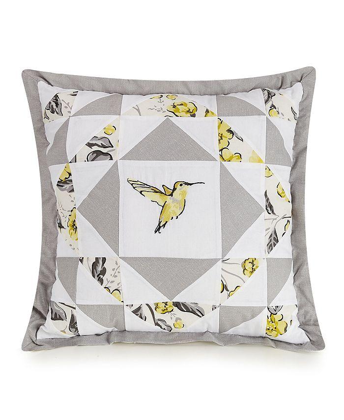 Jessica Simpson - Hummingbird Blooms Star Embroidered Decorative Pillow