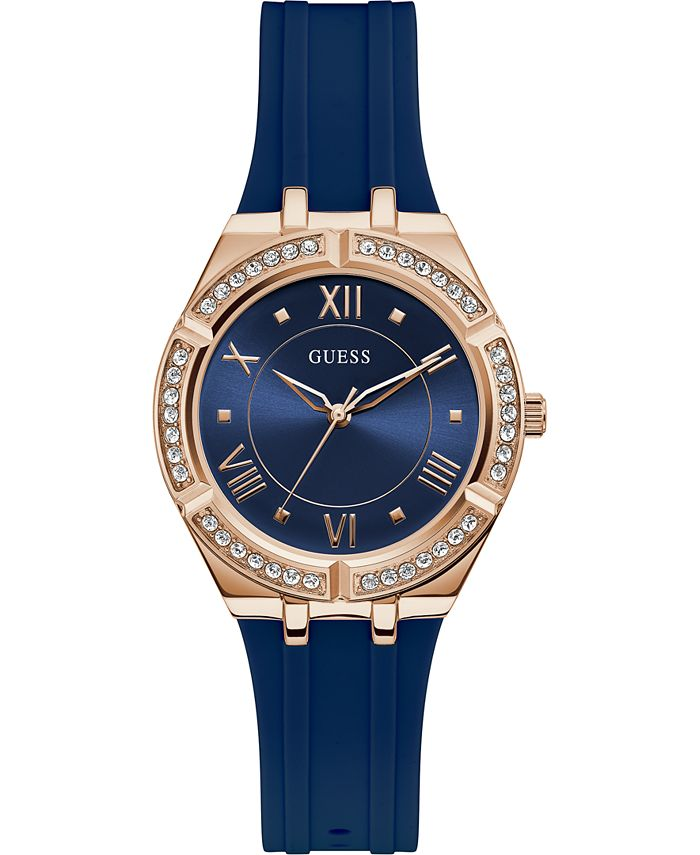 GUESS - Women's Blue Silicone Strap Watch 36mm