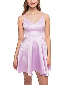 Juniors' Satin Fit & Flare Dress