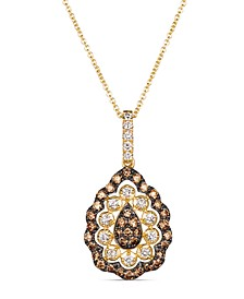 "Creme Brulee® Chocolate Diamond (1/4 ct. t.w.) & Nude Diamond (1/2 ct. t.w.) 18"" Pendant Necklace in 14k Gold"