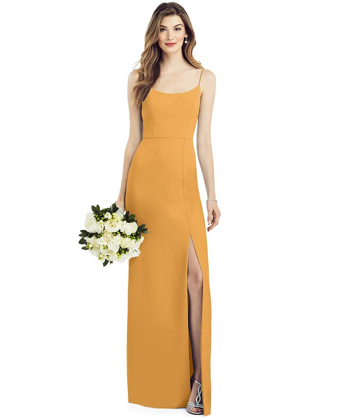 After Six - Crepe Side-Slit Gown