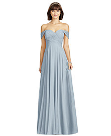 Dessy Collection Off-The-Shoulder Chiffon Gown