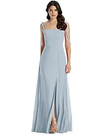 Tie-Strap Chiffon Gown