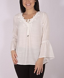 Women's Plus Size Crochet Trimmed Blouse