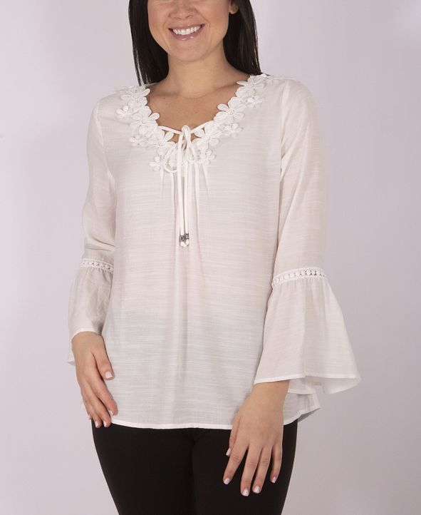 NY Collection Women's Plus Size Crochet Trimmed Blouse