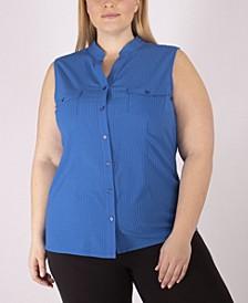 Women's Plus Size Sleeveless Utility Shirt