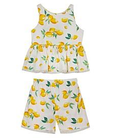 Big Girls Lemon Printed Woven Ruffle Top with Shorts Set