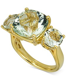 Green Amethyst Three-Stone Ring (7 ct. t.w.) in 14k Gold-Plated Sterling Silver (Also in Pink Amethyst)