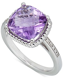 Pink Amethyst (3 ct. t.w.) & Diamond (1/20 ct. t.w.) Ring in Sterling Silver (Also in Blue Topaz & Green Quartz)