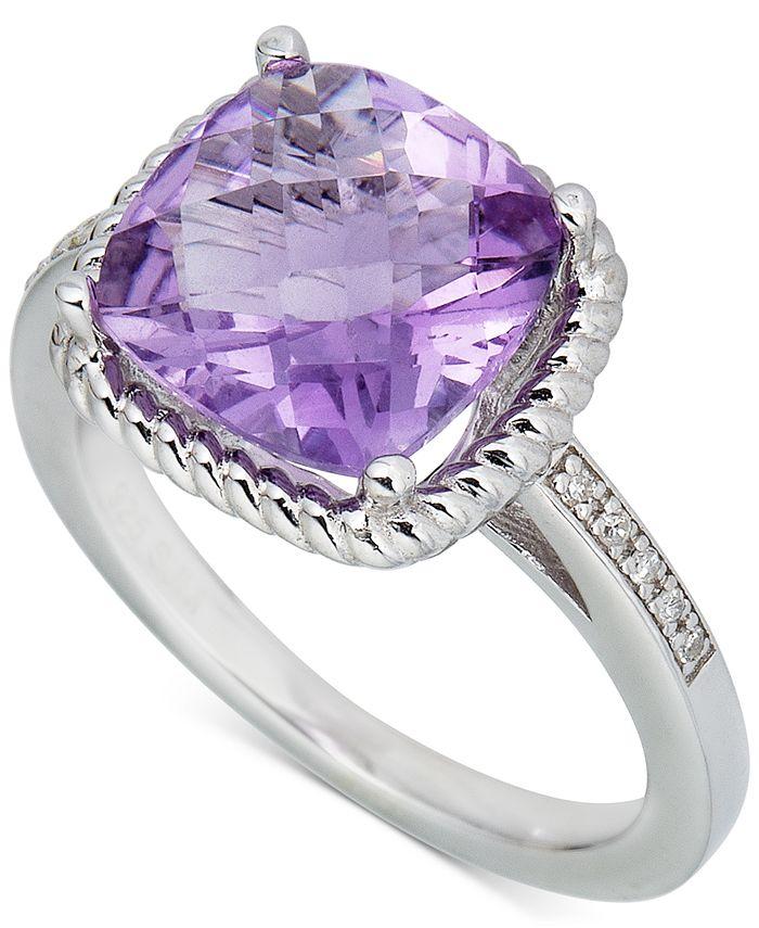 Macy's - Blue Topaz (3-1/2 ct. t.w.) & Diamond (1/20 ct. t.w.) Ring in Sterling Silver (Also in Pink Amethyst & Green Quartz)