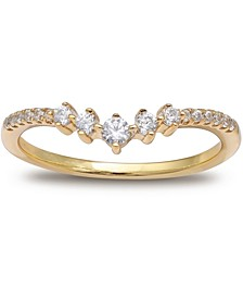 Cubic Zirconia V Band in 18k Gold-Plated Sterling Silver, Created for Macy's