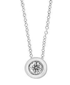 """EFFY® Diamond Bezel Pendant Necklace (1/5 ct. t.w.) in 14k White Gold, 16"""" + 2"""" extender"""
