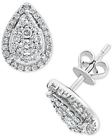 EFFY® Diamond Teardrop Halo Stud Earrings (1/2 ct. t.w.) in 14k White Gold