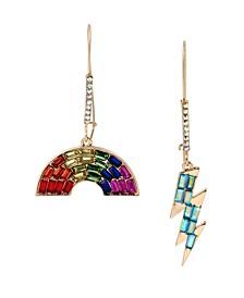 """Rainbow  Lightning Bolt Mismatch Long Drop Earrings in Gold-tone Metal, 2""""-2.5"""""""