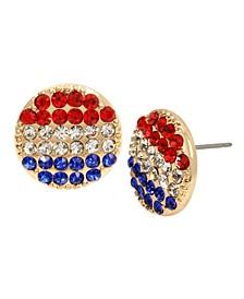 """Round Stud Earrings in Gold-tone Metal, 0.6"""""""