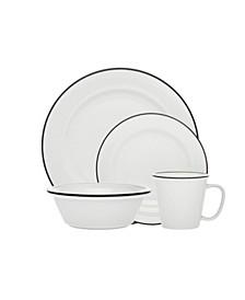 Bistro Black Band 16-PC Porcelain Dinnerware Set