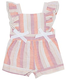 Baby Girls Striped Ruffled Romper
