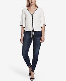Women's Bell Sleeve Tie Front Blouse with Contrast Piping
