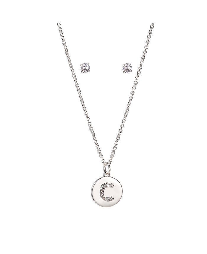 """Unwritten - Fine Silver Plated Clear Cubic Zirconia Initial Coin Pendant and Earring Set, 16""""+2"""" Extender"""