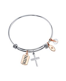 """Faith"" Cubic Zirconia Charm Expandable Bangle Bracelet in Stainless Steel & Rose Gold Tone Plated Charms"