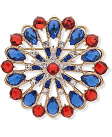 Gold-Tone Crystal & Stone Red, White & Blue Cluster Pin, Created for Macy's