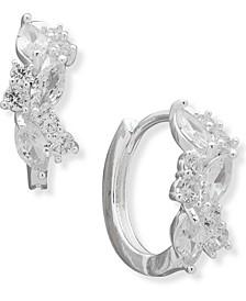 """Silver-Tone Small Navette Crystal Huggie Hoop Earrings, 0.65"""""""